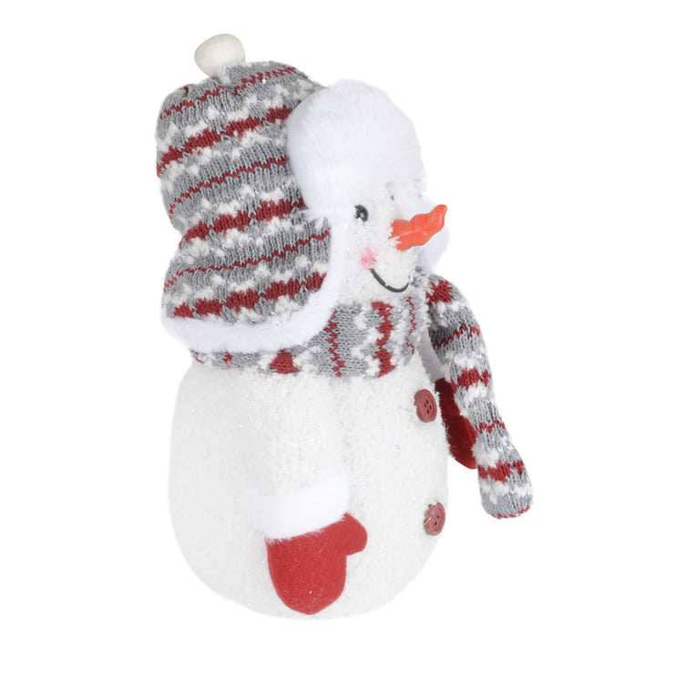 side view of plush snowman decoration with carrot nose