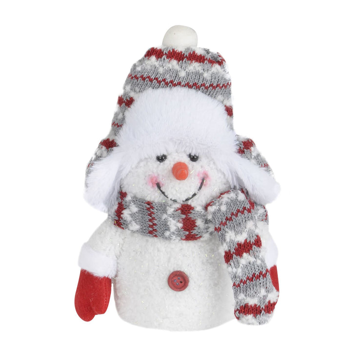 front view of small snowman with red and grey trapper hat and scarf