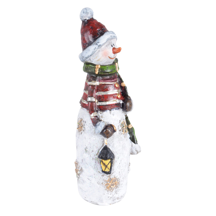side view of snowman figure holding lantern