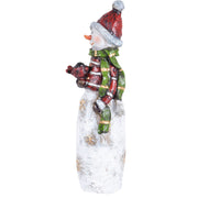 side view of snowman with robin figure