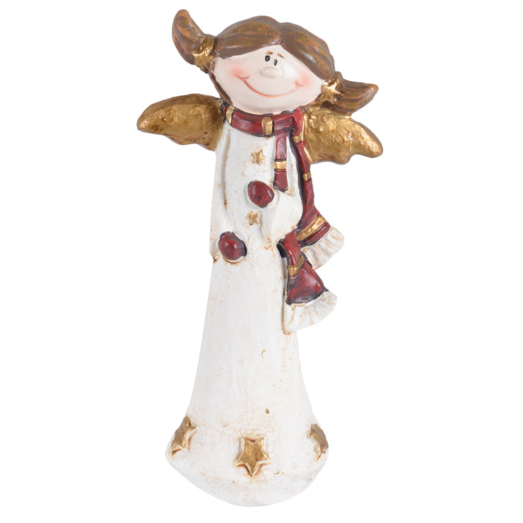 front view of angel ornament with gold and red details