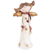 front view of angel ornament holding little candle cane