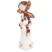 side view of angel ornament with red and gold details