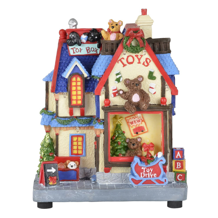 front view of toy shop christmas scene decoration
