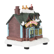 side view of santa workshop christmas scene ornament