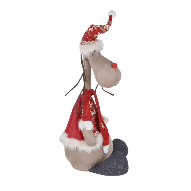 "side view of 28"" plush reindeer decoration"