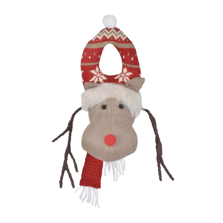 front view of reindeer door hanger with fair isle wool hanger and brown bendable antlers