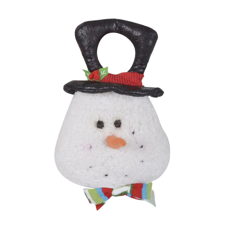 front view of snowman door hanger with black top hat and multi colour bow tie