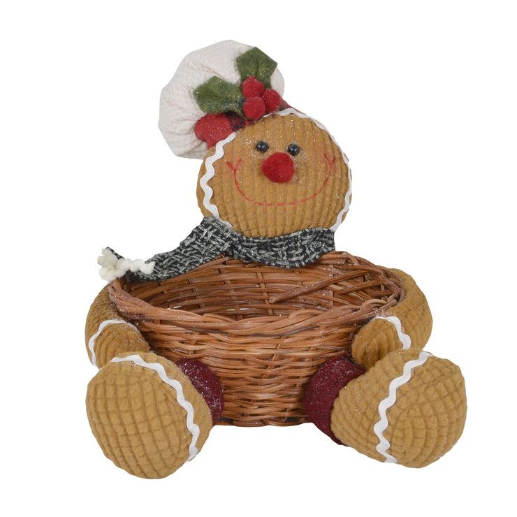 front view of gingerbread man storage basket featuring black and grey weave scarf with wicker basket