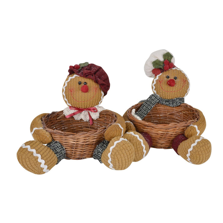 ginger bread man and gingerbread lady basket christmas decoration storage
