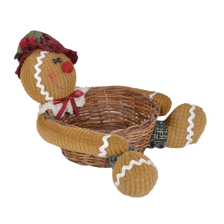 side view of gingerbread lady storage christmas basket