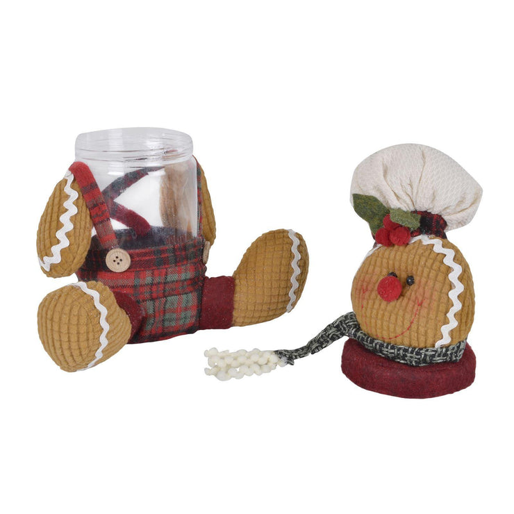 gingerbread man cookie jar shown with lid off