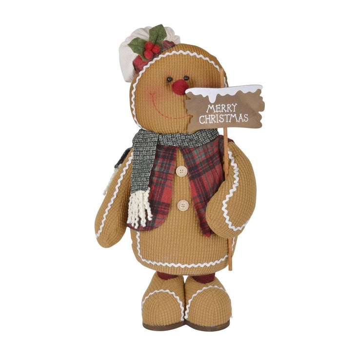 front view of plush gingerbread decoration holding merry christmas sign