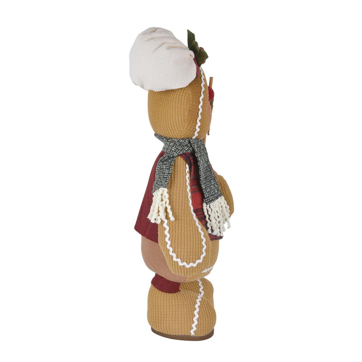 side view of plush gingerbread decoration