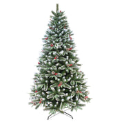 mixed pine christmas tree with frosted snow branches and berry clusters available in 6ft or 7ft sizes