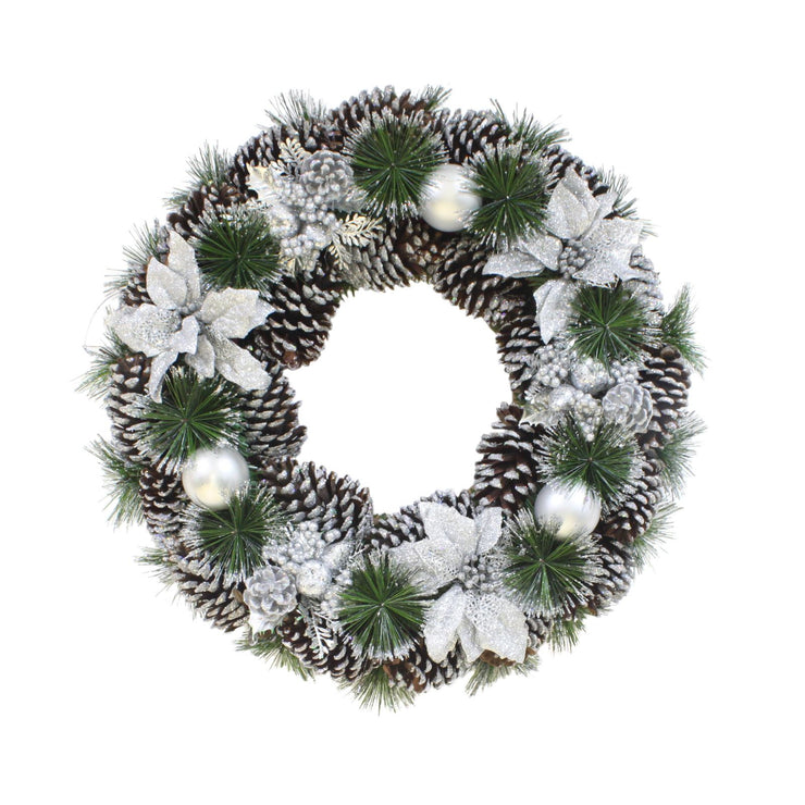 "22"" glitter pine cone wreath featuring silver poinsettia, silver baubles and green pine branches"