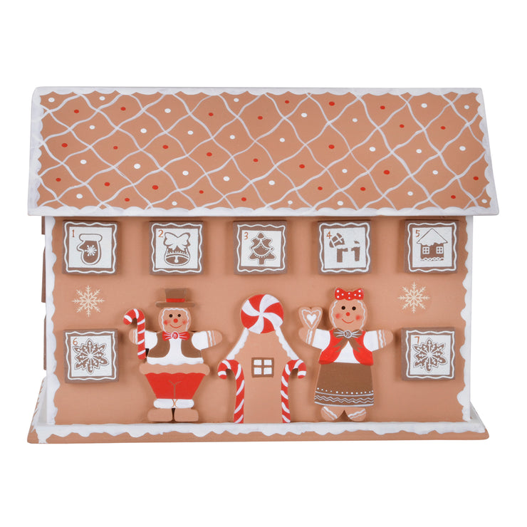 gingerbread house wooden advent calendar with gingerbread man and lady