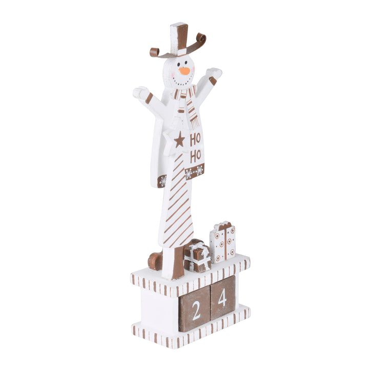side view of tall snowman wooden block calendar