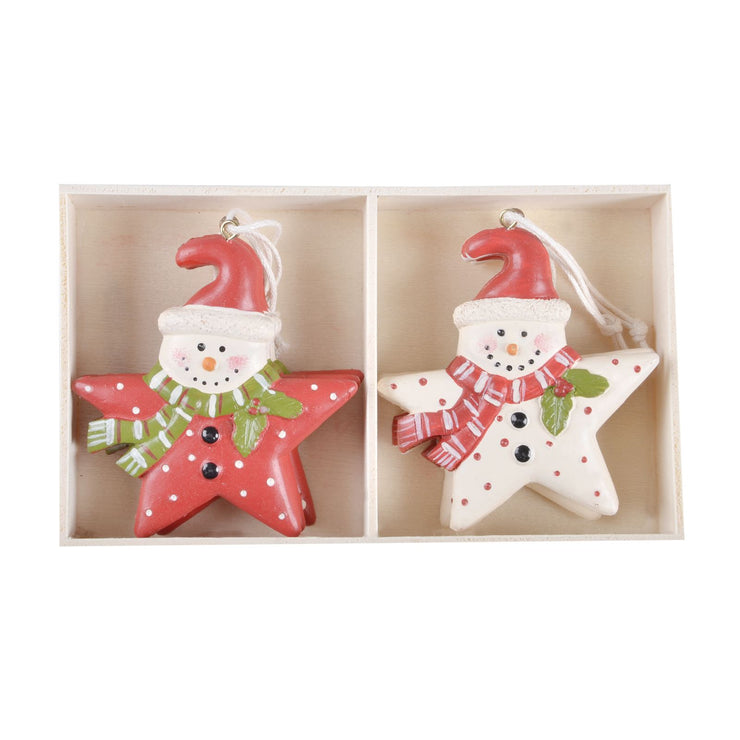 6 star shaped wooden tree decorations in presentation box