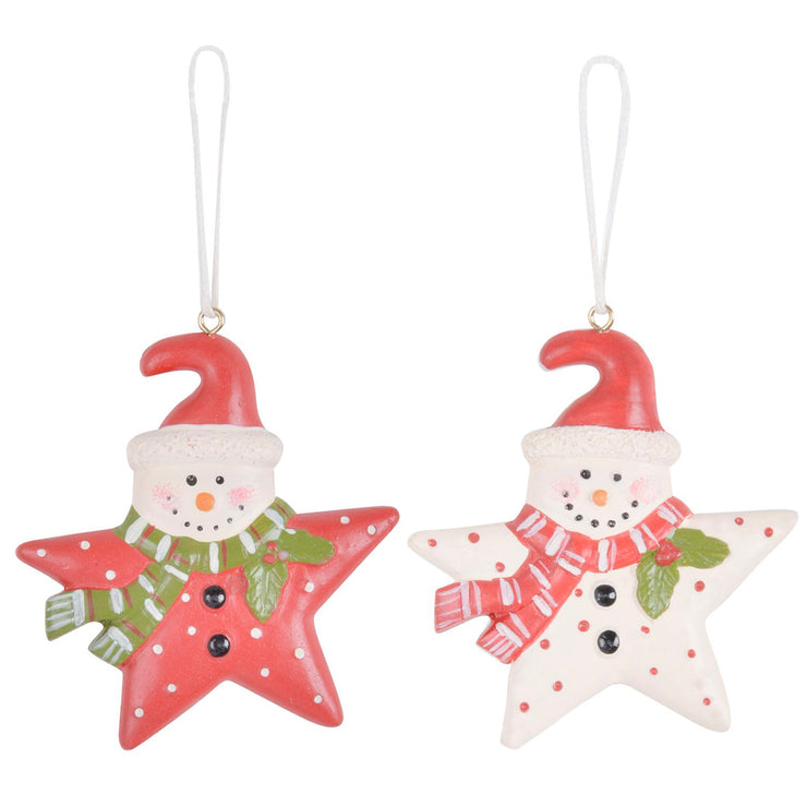 white and red novelty wooden star shaped snowman tree decorations