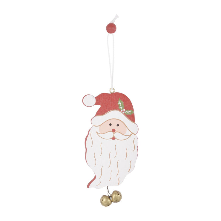 santa face wooden tree decoration with mini gold bells and white thread