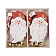 6 pack of santa decoration in a wooden storage presentation box