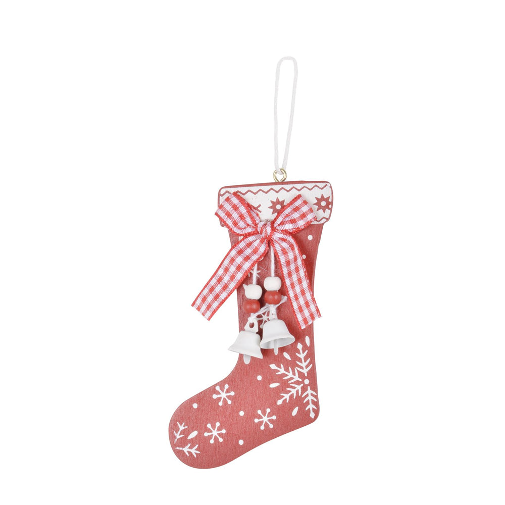 Mr Crimbo 6pk Red Wooden Stocking Christmas Tree Decorations