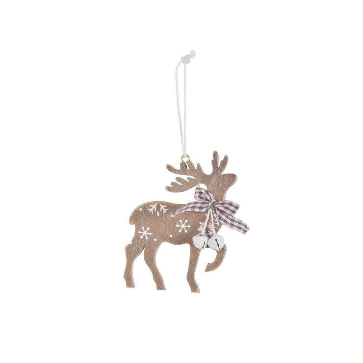 wooden reindeer tree decoration with snowflake print and brown and white checked bow with mini white bells