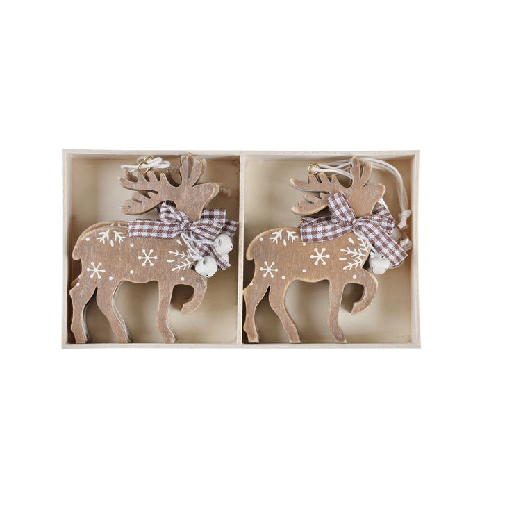 set of 6 wooden reindeer decorations in a wooden presentation storage box