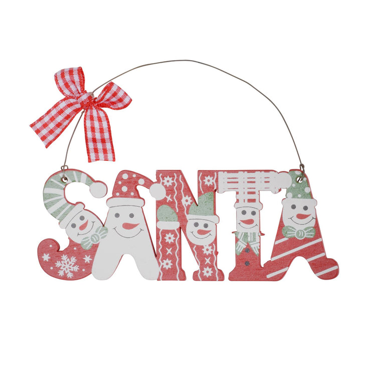 "wooden ""Santa"" tree decoration with various snowman design featured across letters, finished with a metal wire and red and white chequered bow"