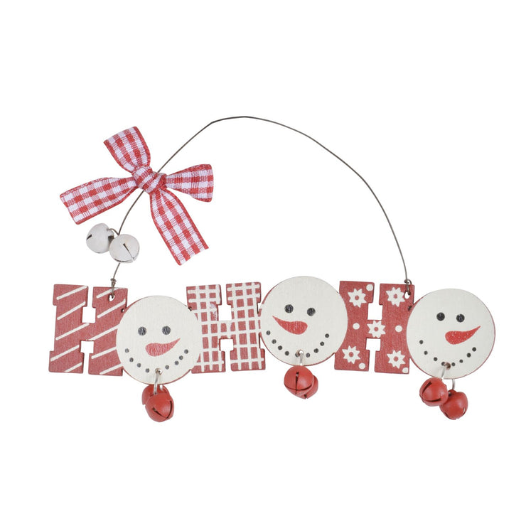"Wooden ""Ho Ho Ho"" christmas tree decoration with wire hanger, mini bells and snowman face design"