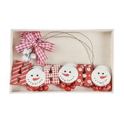 set of 3 wooden christmas decorations in a wooden presentation box