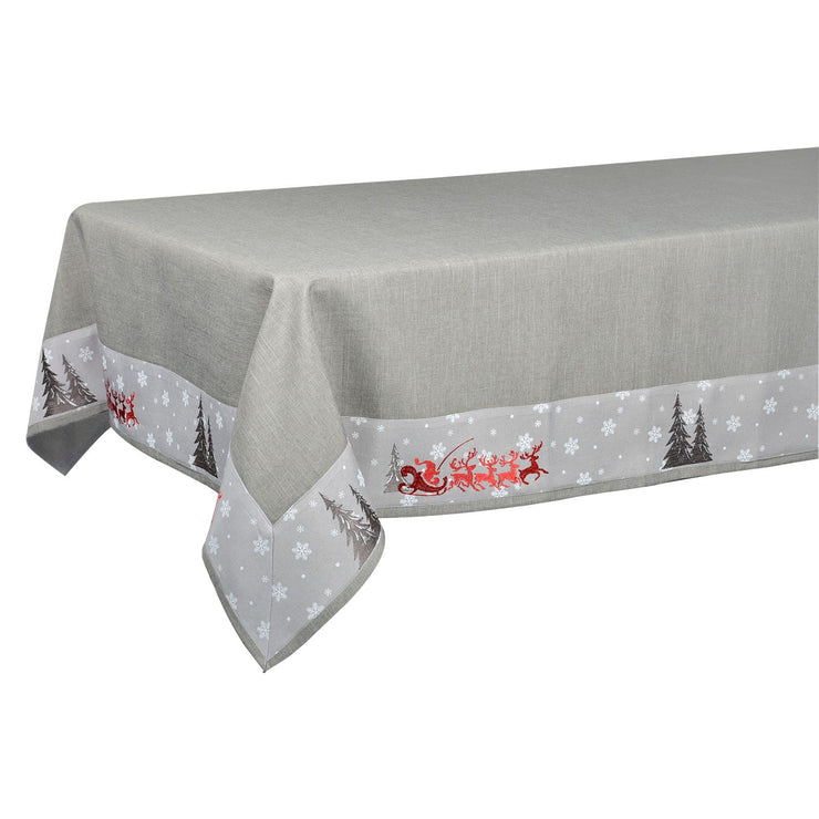 grey table cloth on long length table