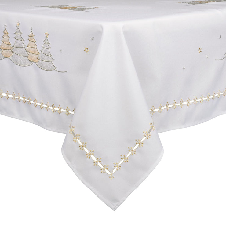 embroidered christmas table cover with gold and silver christmas tree design