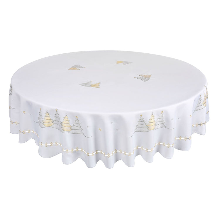 "70"" round christmas table cloth with silver and gold tree design"