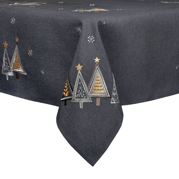gold and silver embroidered christmas tree tablecloth