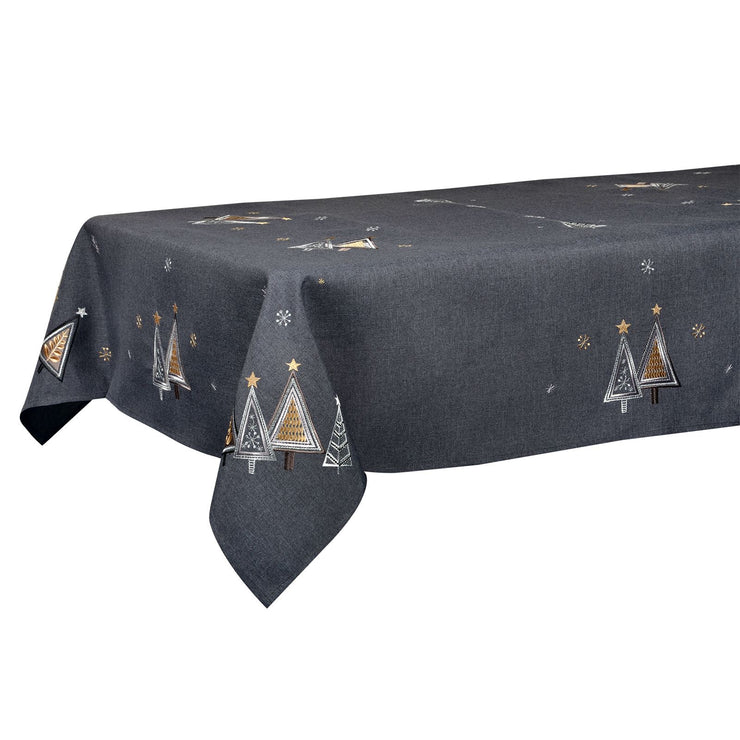 "52 x 90"" christmas tree table cover in slate grey"