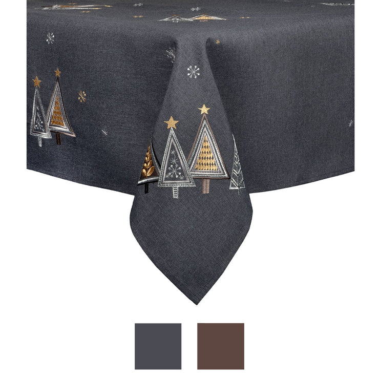 contemporary christmas tree design table cover available in slate or brown colours