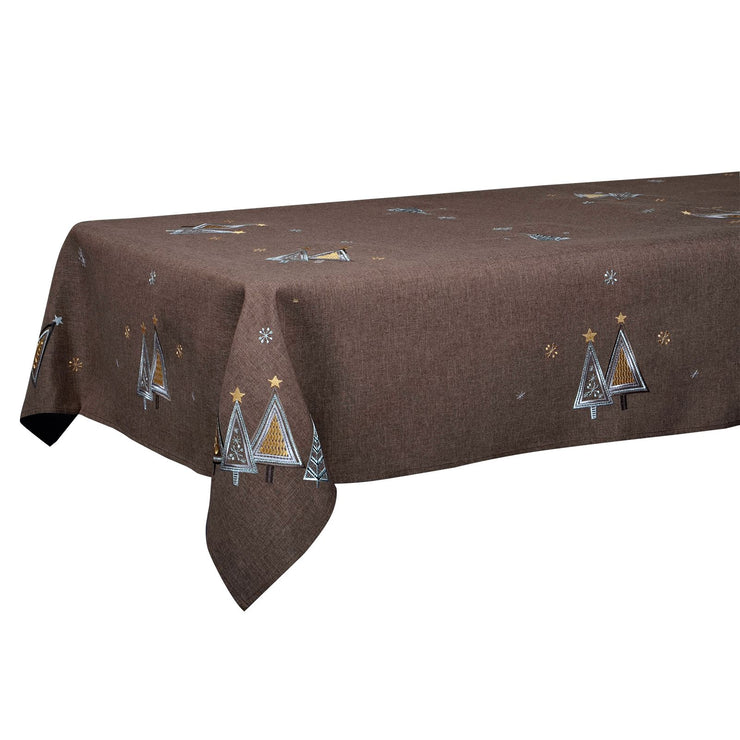 "50 x 90"" christmas tree design table cloth finished in brown"