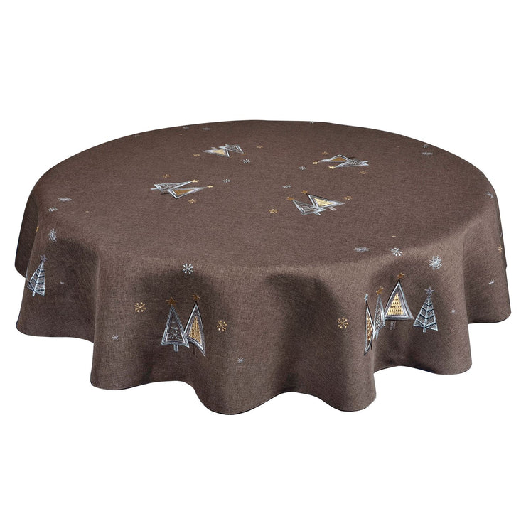 "70"" round brown table cloth with silver and gold embroidery details"