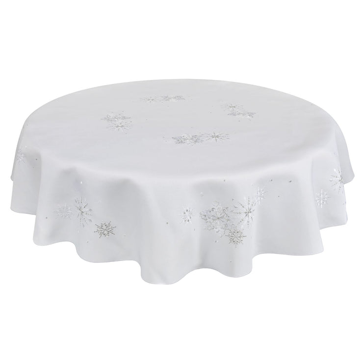 "70"" round white embroidered snowflake tablecloth"