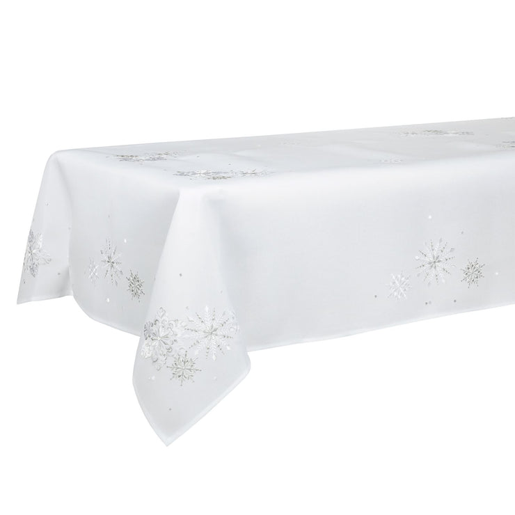 "52 x 90"" embroidered white tablecloth with silver snowflakes"