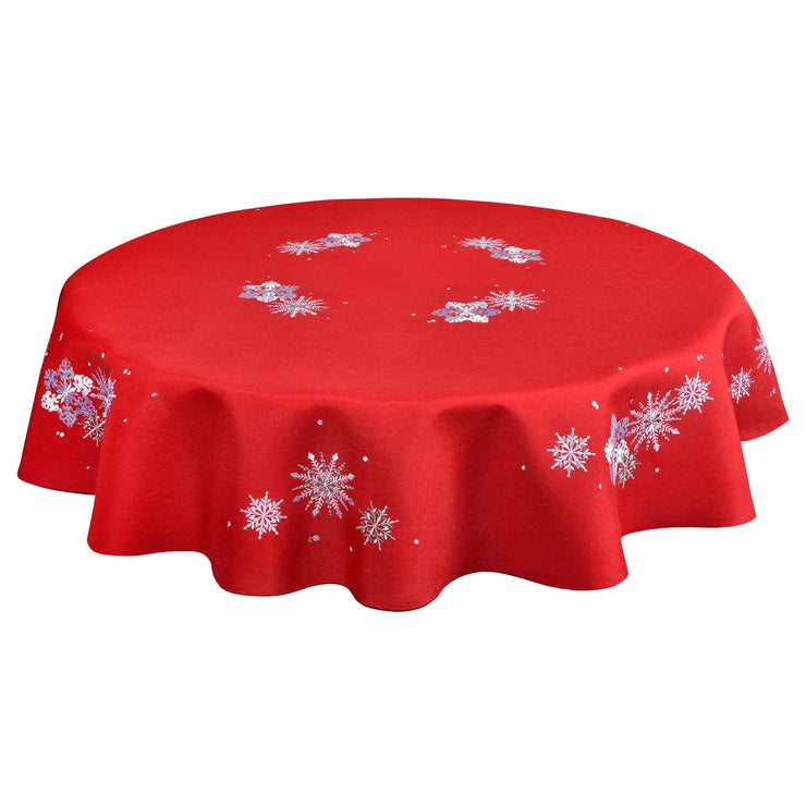 "70"" round red tablecloth with silver snowflake design"