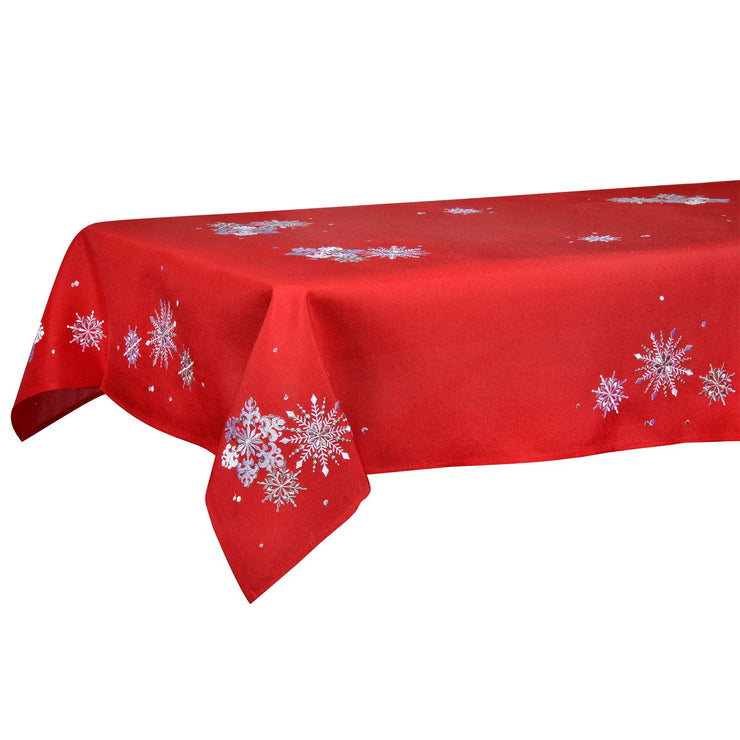 "52 x 90"" red table cover on table"