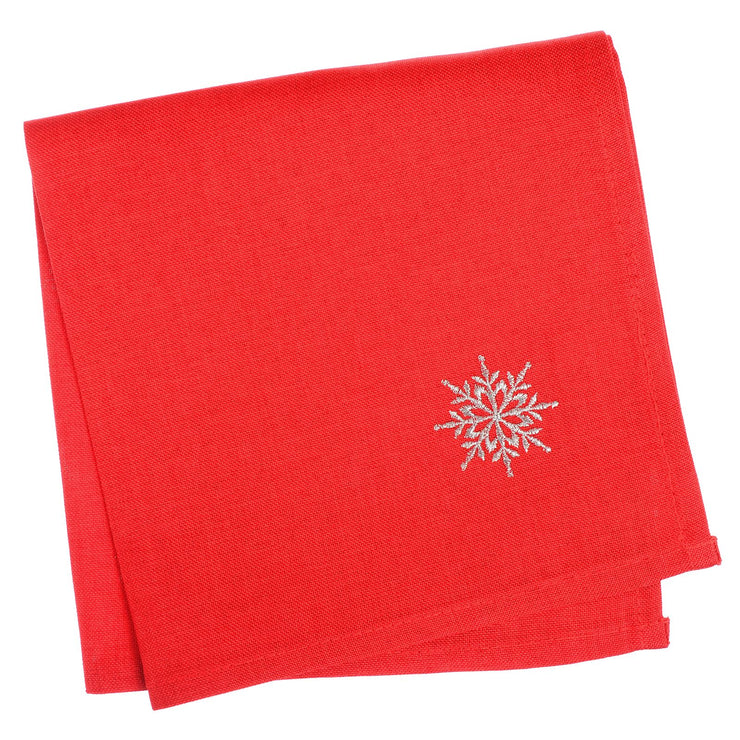 set of 4 red napkins with embroidered silver snowflake in the corner