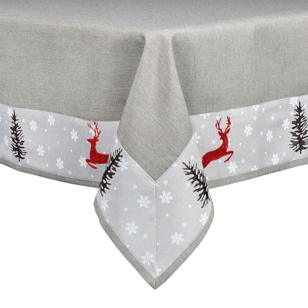 Mr Crimbo Reindeer Embroidered Grey Tablecloth/Napkin