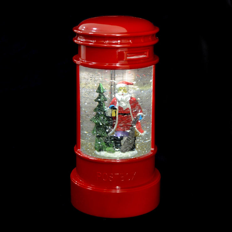 light up glitter post box with santa design and glitter water spinner