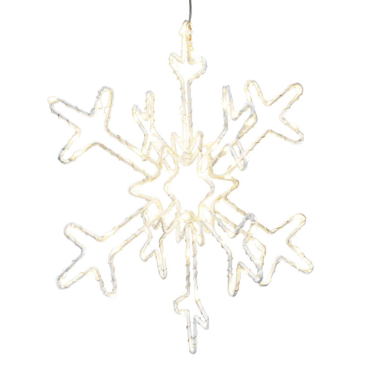 Mains power light up 30cm snowflake shown on a white background