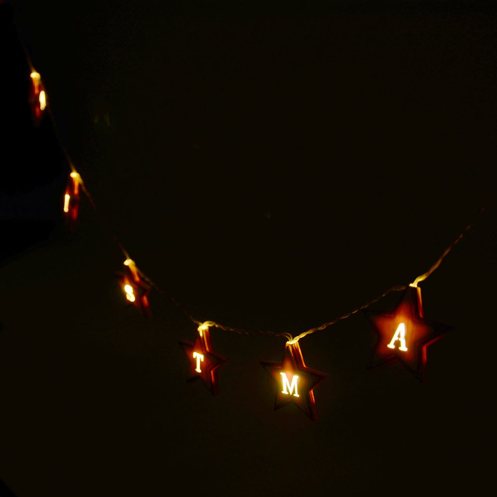 Mr Crimbo Merry Christmas LED Wooden Star String Fairy Lights