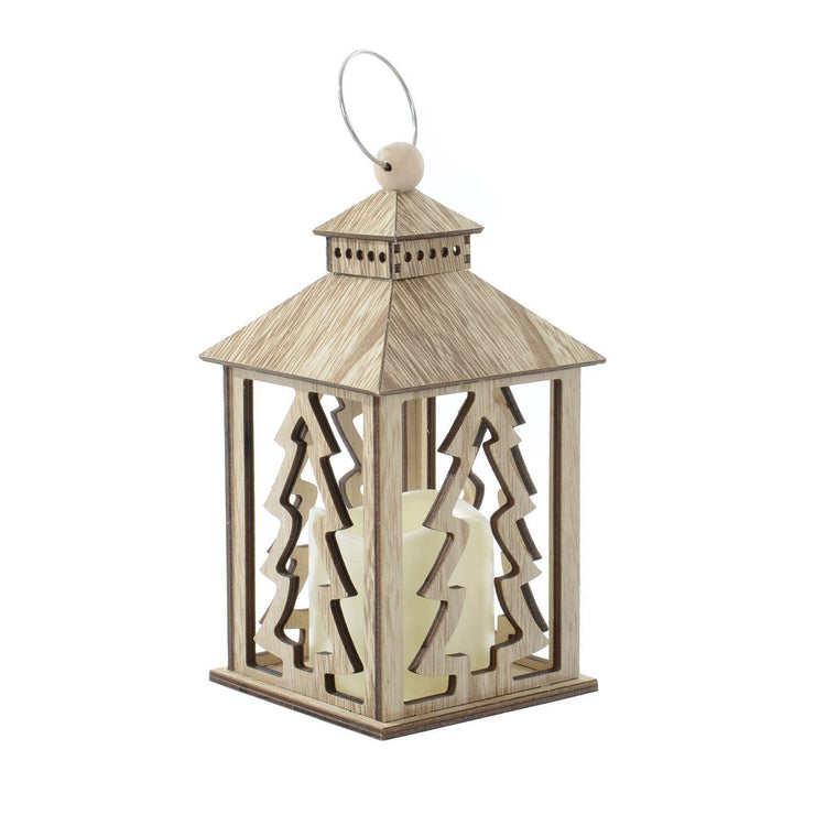 wooden lantern decoration with Christmas Tree design and flickering LED candle